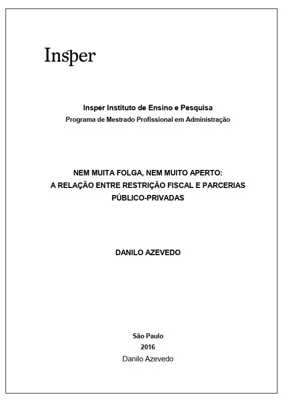 Capa da Dissertação de Mestrado elaborada por Danilo Azevedo