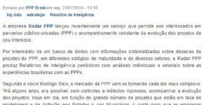 Reportagem - PPP Brasil sobre o Relatório de Inteligência (2014)